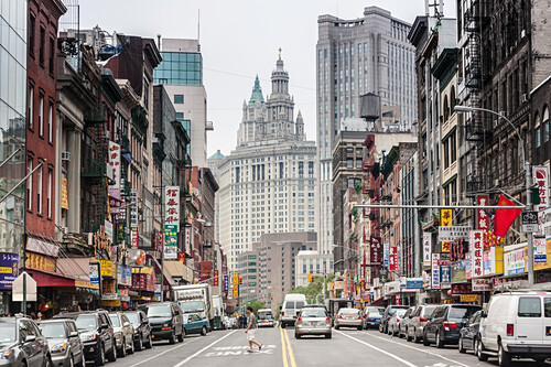 East Broadway, Woolworth Building, Municipal Building, Chinatown, Downtown, Manhattan, New York, USA