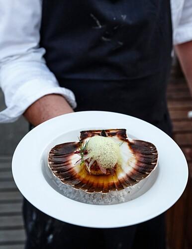 Starter at the Kosterfjord Terrace Restaurant, Koster Islands, Vastra Gotaland region, Sweden.