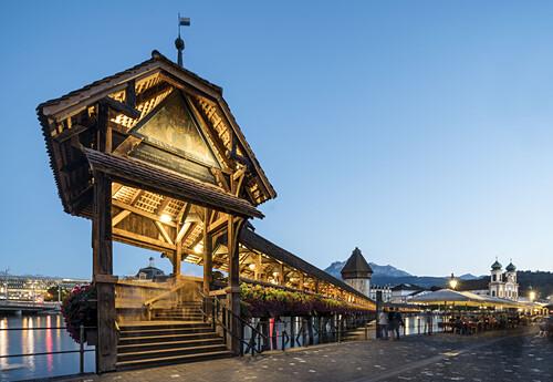 Weltkulturerbe Kapellbruecke, Luzern, Schweiz