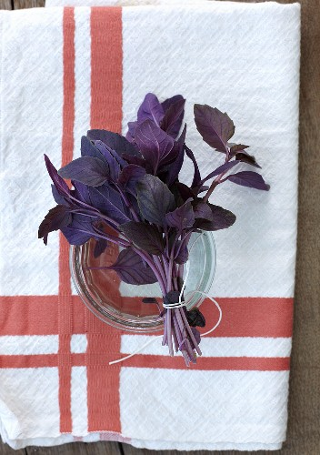 A bunch of red basil on a kitchen towel