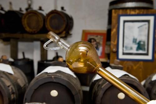 Balsamic vinegar stored in bottles