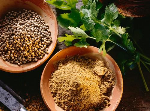 Fresh leaf coriander; ground and whole coriander seeds