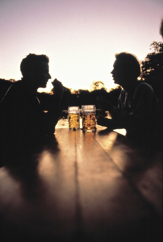 Drinking Beer at Sunset
