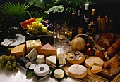 Fine Cheese Selection with Fruit and Wine