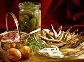 Sprats with Salt-Dill-Cucumbers & Onions