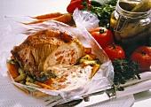 Stuffed roast Veal in ovenproof Foil