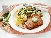 Veal escalope with Leipzig style mixed vegetables