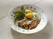 Herring in Sour Cream with Potatoes and Cream Cheese