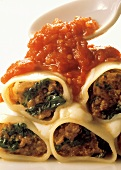 Filled cannelloni with tomato sauce (Emilia-Romagna, Italy)