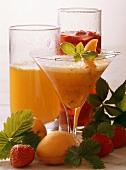 Three Colorful Fruit Juice Drinks