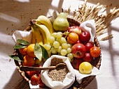 Fruit Selection in Basket with Rye Grains