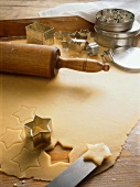 Rolled-out Dough with Stars and Star Cutter