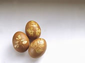 Easter eggs decorated with leaf motifs