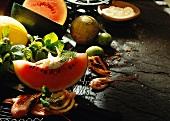 Melon Wedges Appetizer with Shrimp
