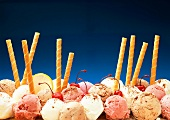 Several Scoops of Ice Cream with Cookie Pirouettes
