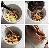 Making apple and chestnut stuffing