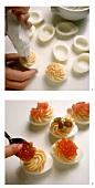 Stuffing hard-boiled eggs