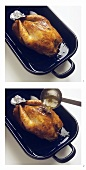 Basting chicken in roasting dish