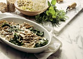Rye noodles with spinach