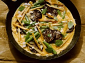 Potato omelette with black pudding & green beans