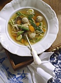 Vegetable Soup with Noodles and Veal Dumplings