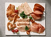Platter with sliced Italian cold cuts.