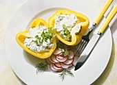 Yellow Bell Pepper with Herb Cheese Filling