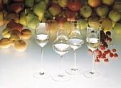 Clear Fruit Brandy in Stem Glasses
