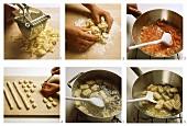 Making gnocchi (potato dumplings), Piedmont, Italy