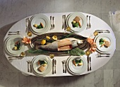 Table Setting from Overhead; Salmon