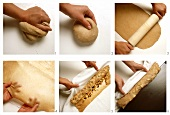 Making strudel pastry