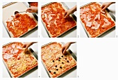 Putting the topping on a pizza