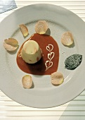 Vanilla Pudding Dessert with Rose Petals
