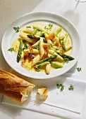 Asparagus ragout with saffron whip