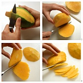 Peeling and slicing mango