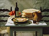 Pane fratau and pane carasau (2 types of flatbread), Italy