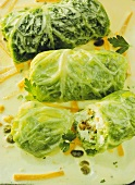 Herb Cream Cheese Cabbage Roulade