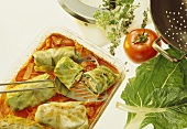Stuffed cabbage leaves with chard