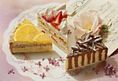 Three pieces of different gateaux