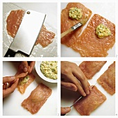 Filling pork escalope ravioli