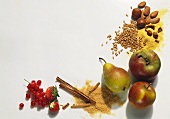 Various fruits, nuts and spices still life