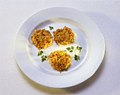 Carrot Pancakes with Chervil-Cream Cheese Mousse