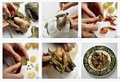 Preparing partridges in vine leaves