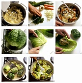 Preparing stuffed savoy cabbage leaves with potato stuffing