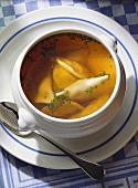 Soup with filled Pasta Squares Swabian-style