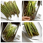 Boiling green asparagus