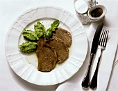 Boiled beef fillet with pea puree