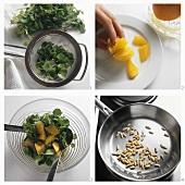 Making watercress salad with oranges