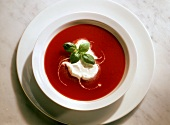 Tomato Cream Soup with Cream Topping