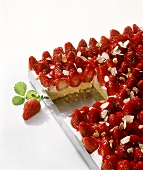 Tray-baked strawberry cake